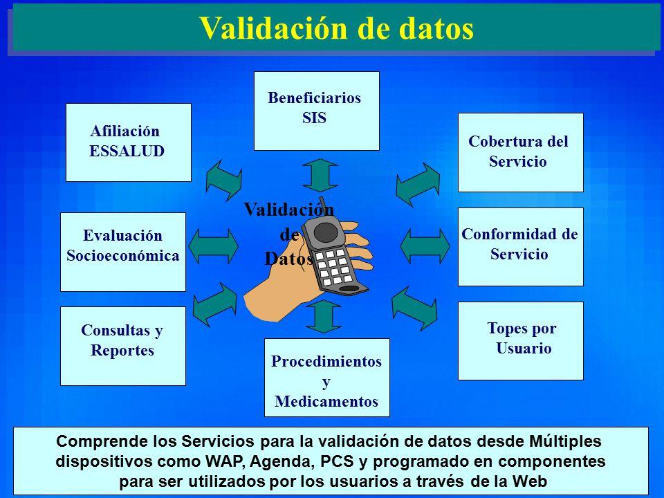 8 Validación de datos Evaluación Socioeconómica Beneficiarios SIS Cobertura del Servicio Conformidad de Servicio Topes por Usuario Afiliación ESSALUD Consultas y Reportes Procedimientos y Medicamentos Comprende los Servicios para la validación de datos desde Múltiples dispositivos como WAP, Agenda, PCS y programado en componentes para ser utilizados por los usuarios a través de la Web Validación de Datos