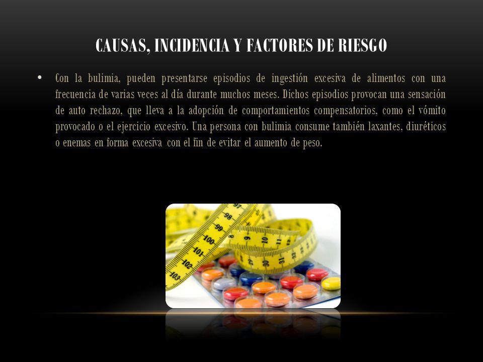 CAUSAS, INCIDENCIA Y FACTORES DE RIESGO Con la bulimia, pueden presentarse episodios de ingestión excesiva de alimentos con una frecuencia de varias v