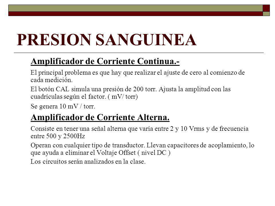 PRESION SANGUINEA Amplificador de Corriente Continua.- El principal problema es que hay que realizar el ajuste de cero al comienzo de cada medición.