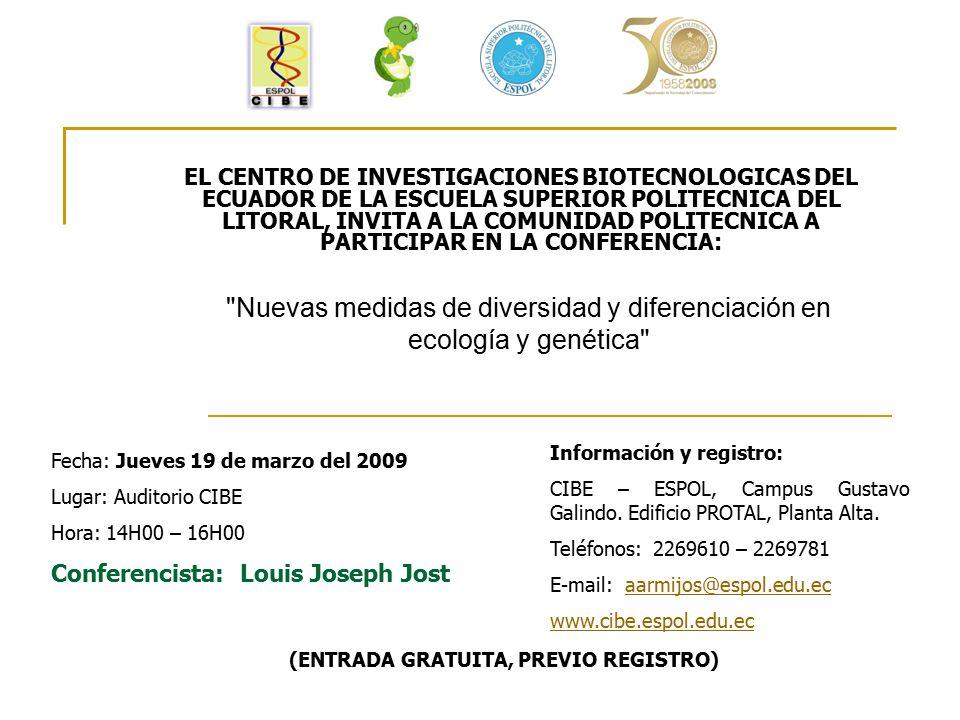 EL CENTRO DE INVESTIGACIONES BIOTECNOLOGICAS DEL ECUADOR DE LA ESCUELA SUPERIOR POLITECNICA DEL LITORAL, INVITA A LA COMUNIDAD POLITECNICA A PARTICIPA
