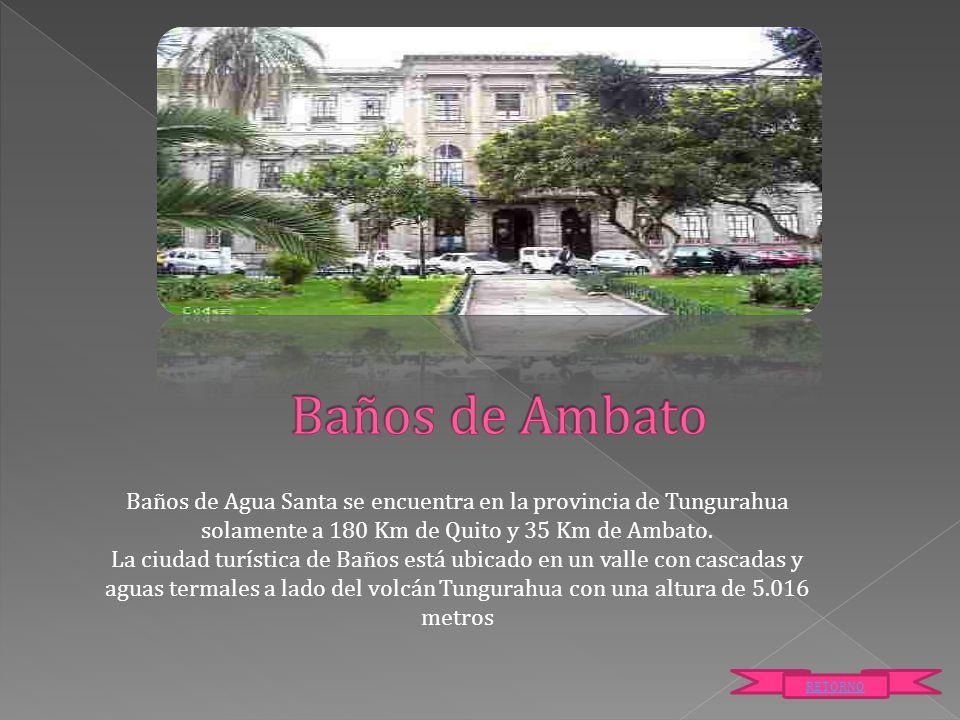 Baños de Agua Santa se encuentra en la provincia de Tungurahua solamente a 180 Km de Quito y 35 Km de Ambato. La ciudad turística de Baños está ubicad