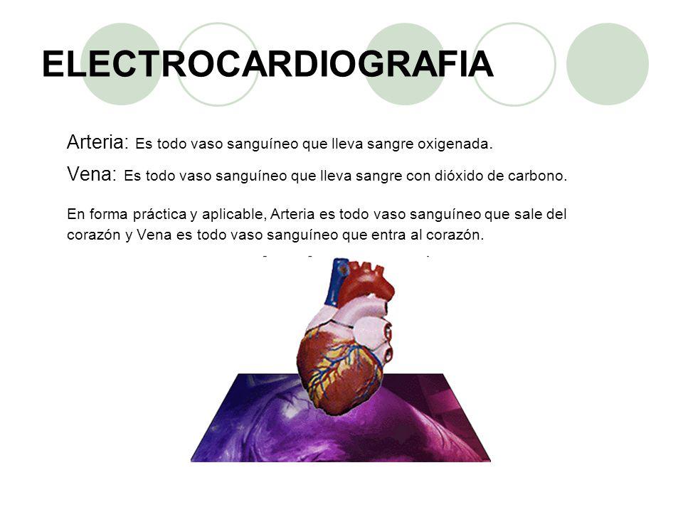 ELECTROCARDIOGRAFIA Arteria: Es todo vaso sanguíneo que lleva sangre oxigenada. Vena: Es todo vaso sanguíneo que lleva sangre con dióxido de carbono.