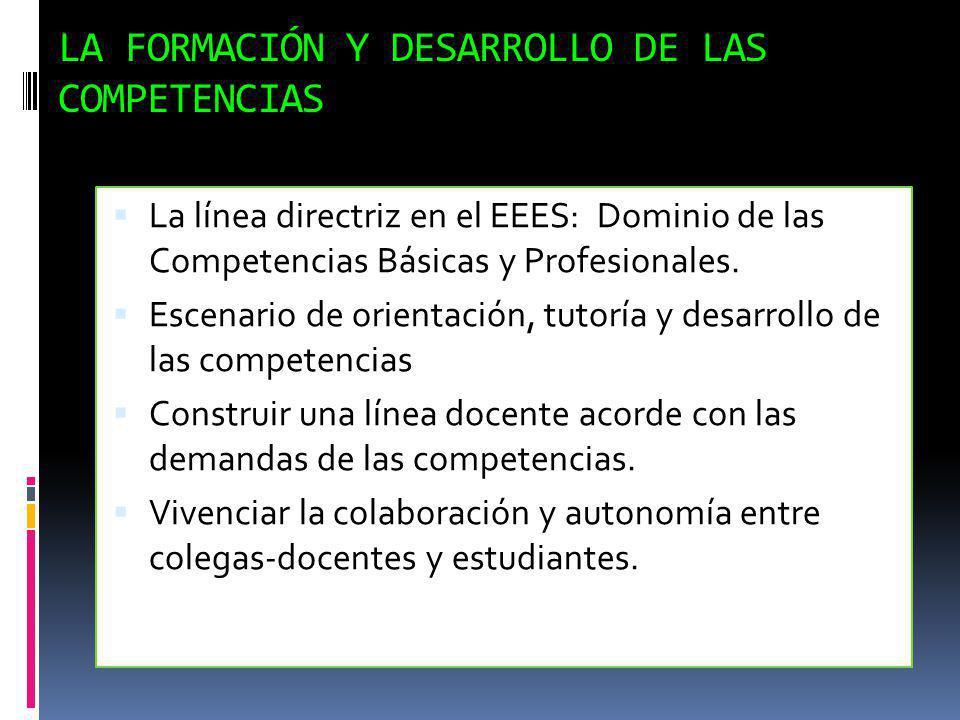 LA FORMACIÓN Y DESARROLLO DE LAS COMPETENCIAS La línea directriz en el EEES: Dominio de las Competencias Básicas y Profesionales. Escenario de orienta
