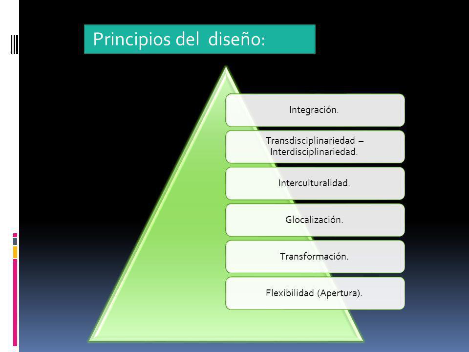 Integración. Transdisciplinariedad – Interdisciplinariedad. Interculturalidad.Glocalización.Transformación.Flexibilidad (Apertura). Principios del dis