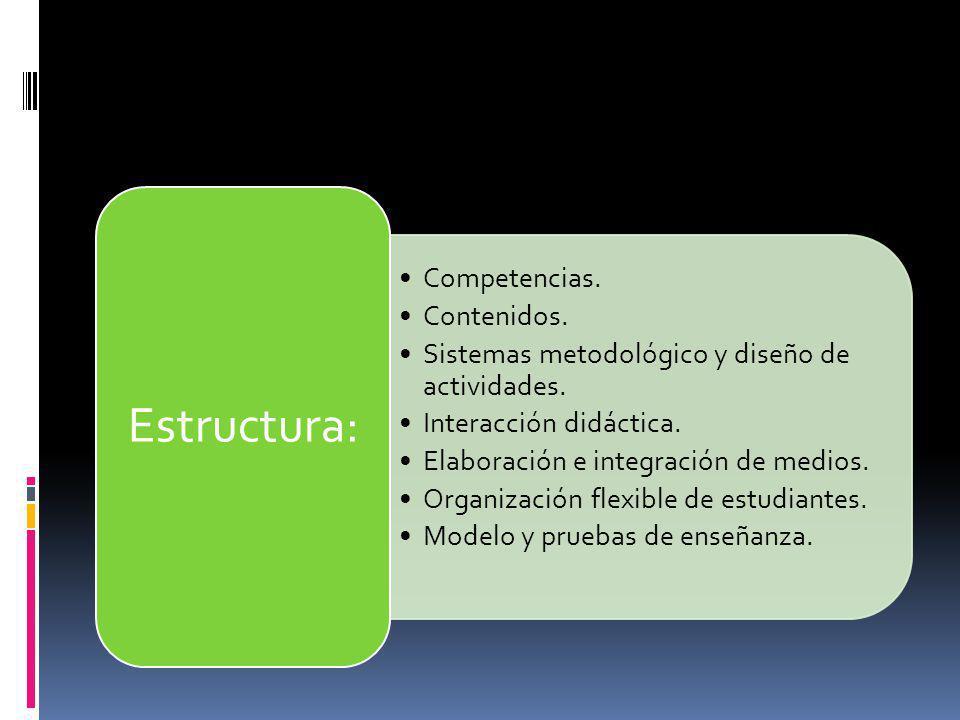 Competencias. Contenidos. Sistemas metodológico y diseño de actividades. Interacción didáctica. Elaboración e integración de medios. Organización flex