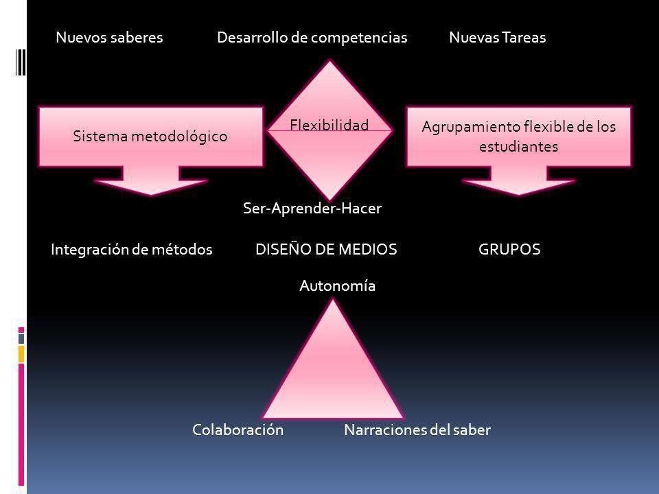 Sistema metodológico Agrupamiento flexible de los estudiantes Nuevos saberes Desarrollo de competencias Nuevas Tareas Integración de métodos DISEÑO DE