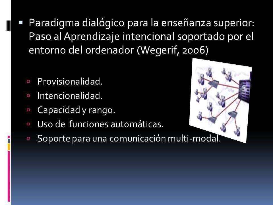 Paradigma dialógico para la enseñanza superior: Paso al Aprendizaje intencional soportado por el entorno del ordenador (Wegerif, 2006) Provisionalidad
