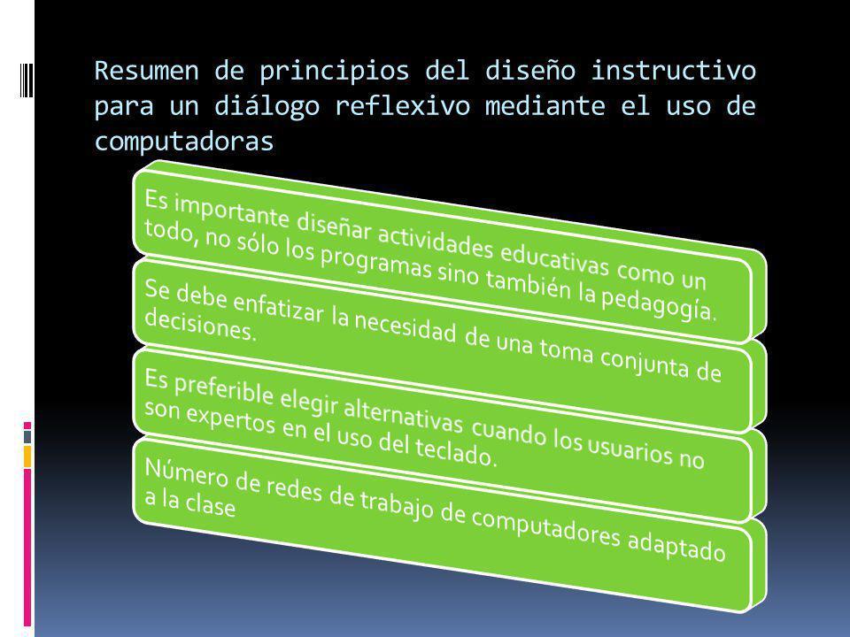 Resumen de principios del diseño instructivo para un diálogo reflexivo mediante el uso de computadoras