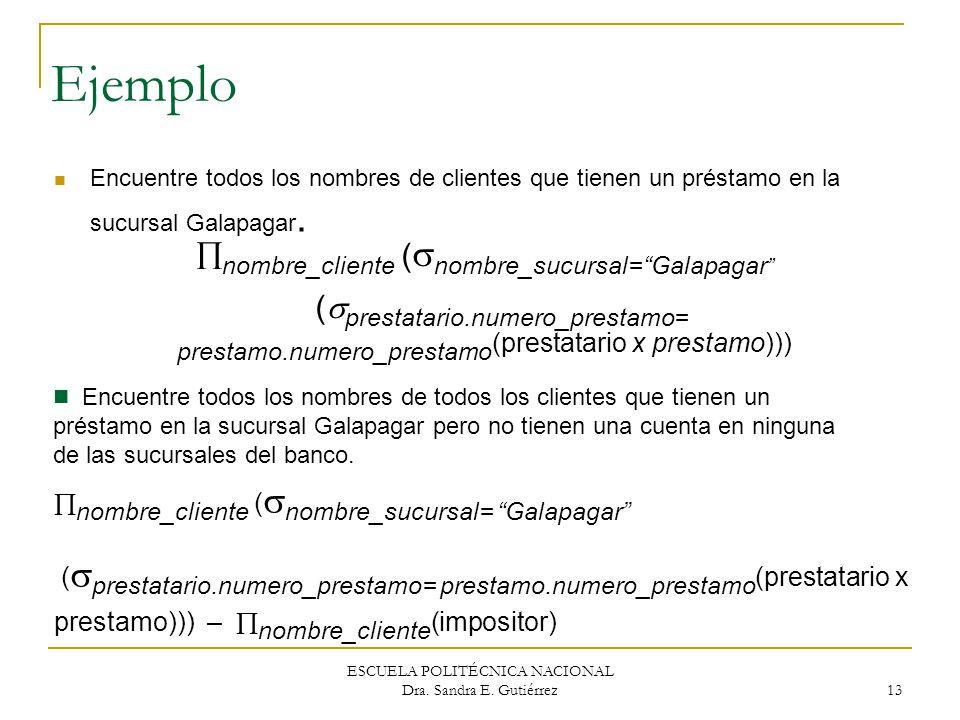 ESCUELA POLITÉCNICA NACIONAL Dra. Sandra E. Gutiérrez 13 Ejemplo Encuentre todos los nombres de clientes que tienen un préstamo en la sucursal Galapag