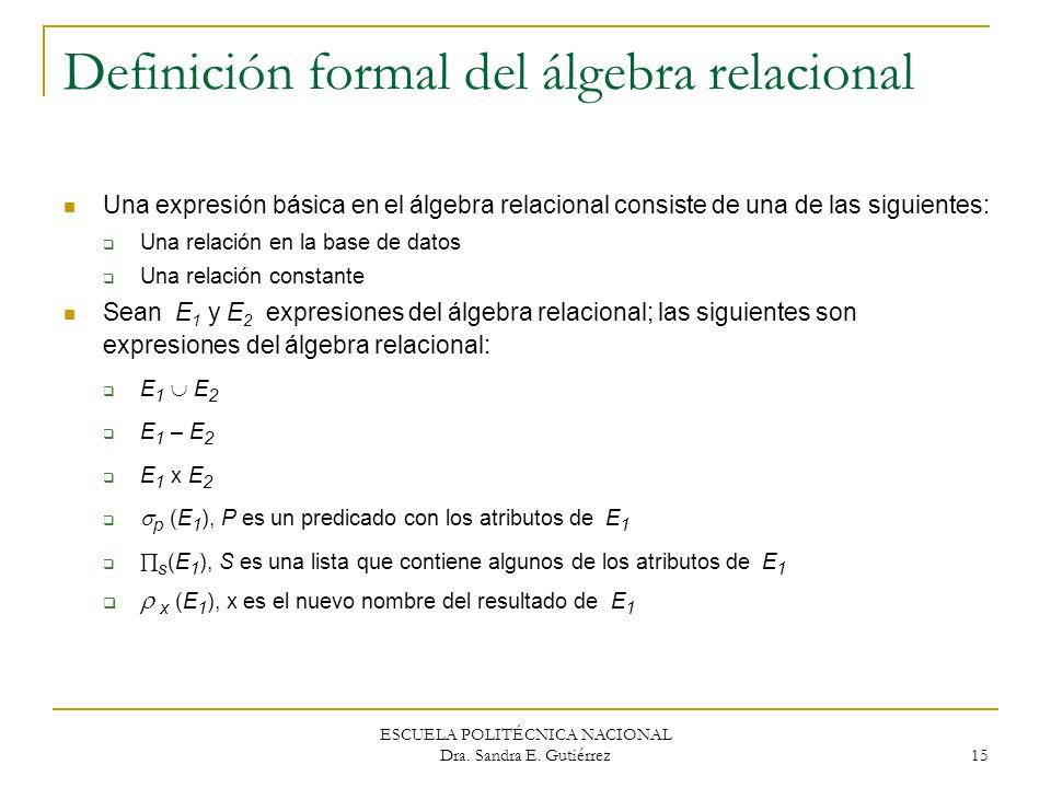 ESCUELA POLITÉCNICA NACIONAL Dra. Sandra E. Gutiérrez 15 Definición formal del álgebra relacional Una expresión básica en el álgebra relacional consis