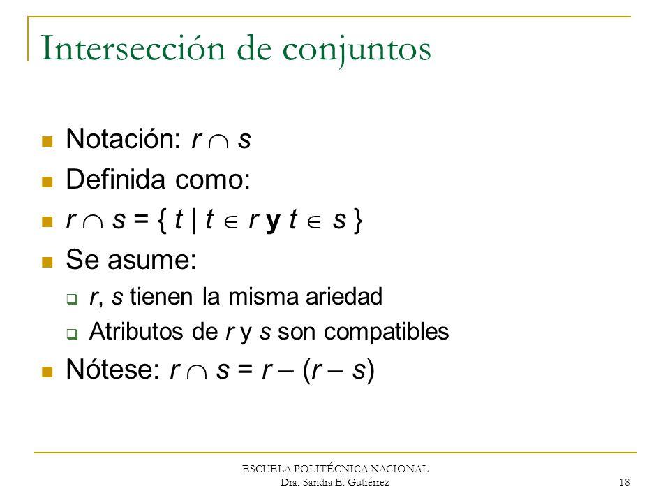 ESCUELA POLITÉCNICA NACIONAL Dra. Sandra E. Gutiérrez 18 Intersección de conjuntos Notación: r s Definida como: r s = { t | t r y t s } Se asume: r, s