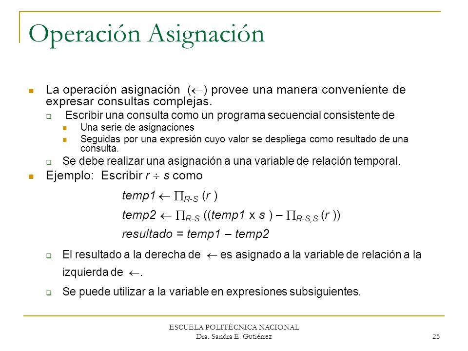 ESCUELA POLITÉCNICA NACIONAL Dra. Sandra E. Gutiérrez 25 Operación Asignación La operación asignación ( ) provee una manera conveniente de expresar co