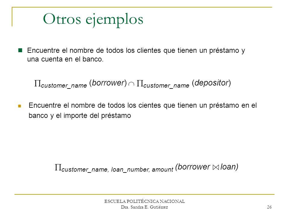 ESCUELA POLITÉCNICA NACIONAL Dra. Sandra E. Gutiérrez 26 Otros ejemplos Encuentre el nombre de todos los clientes que tienen un préstamo y una cuenta