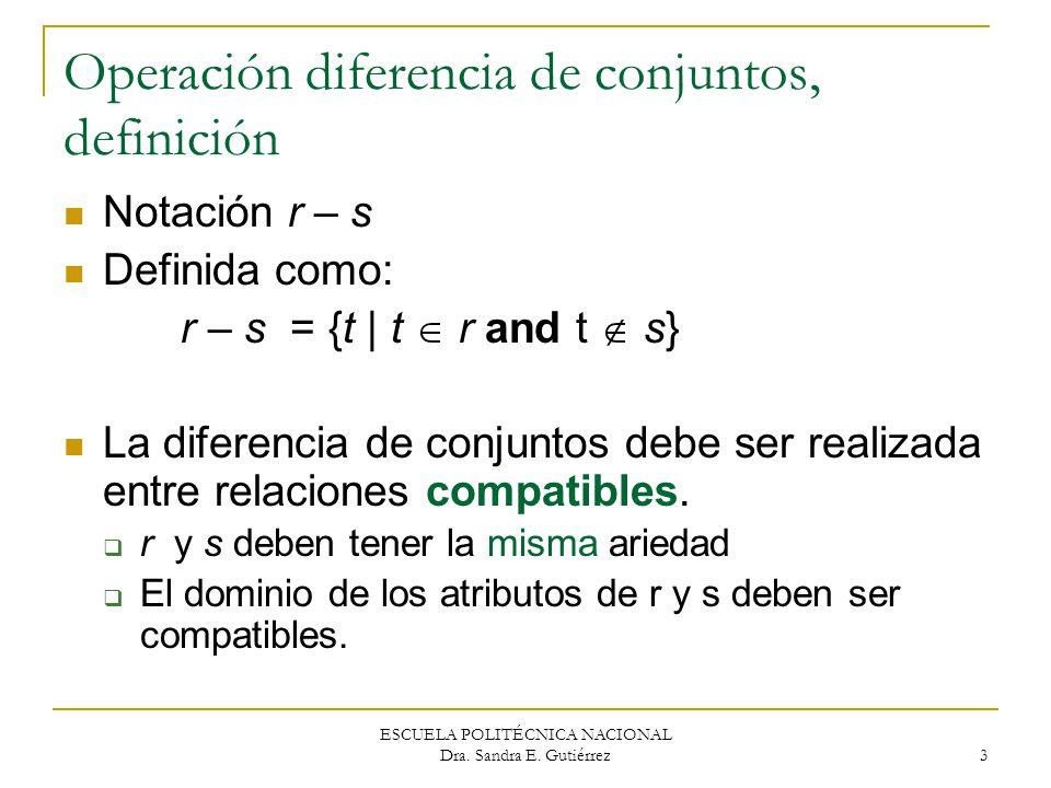 ESCUELA POLITÉCNICA NACIONAL Dra. Sandra E. Gutiérrez 3 Operación diferencia de conjuntos, definición Notación r – s Definida como: r – s = {t | t r a