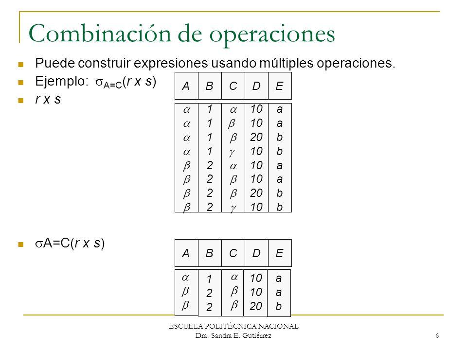 ESCUELA POLITÉCNICA NACIONAL Dra. Sandra E. Gutiérrez 6 Combinación de operaciones Puede construir expresiones usando múltiples operaciones. Ejemplo: