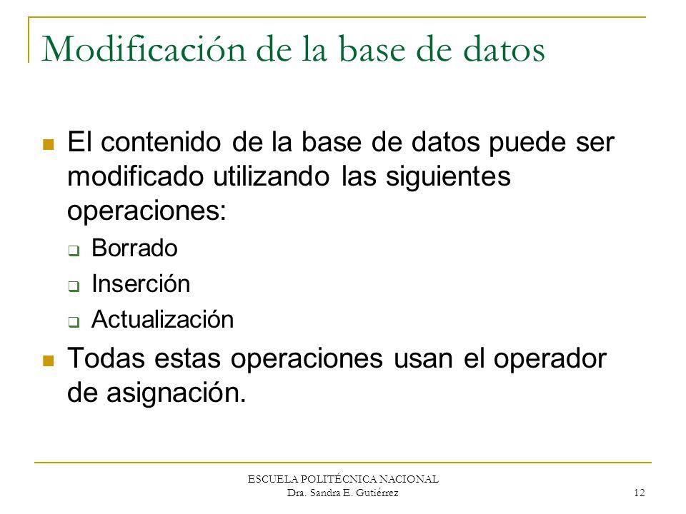 ESCUELA POLITÉCNICA NACIONAL Dra. Sandra E. Gutiérrez 12 Modificación de la base de datos El contenido de la base de datos puede ser modificado utiliz