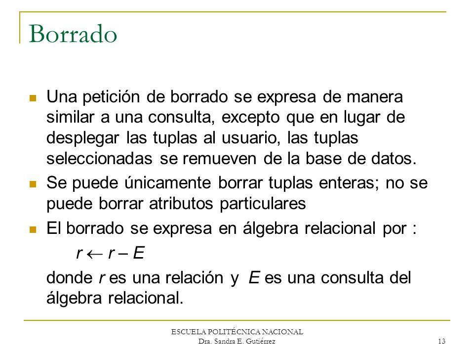 ESCUELA POLITÉCNICA NACIONAL Dra. Sandra E. Gutiérrez 13 Borrado Una petición de borrado se expresa de manera similar a una consulta, excepto que en l
