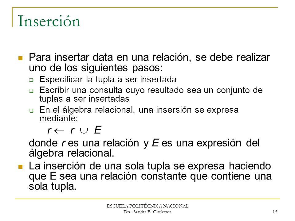 ESCUELA POLITÉCNICA NACIONAL Dra. Sandra E. Gutiérrez 15 Inserción Para insertar data en una relación, se debe realizar uno de los siguientes pasos: E