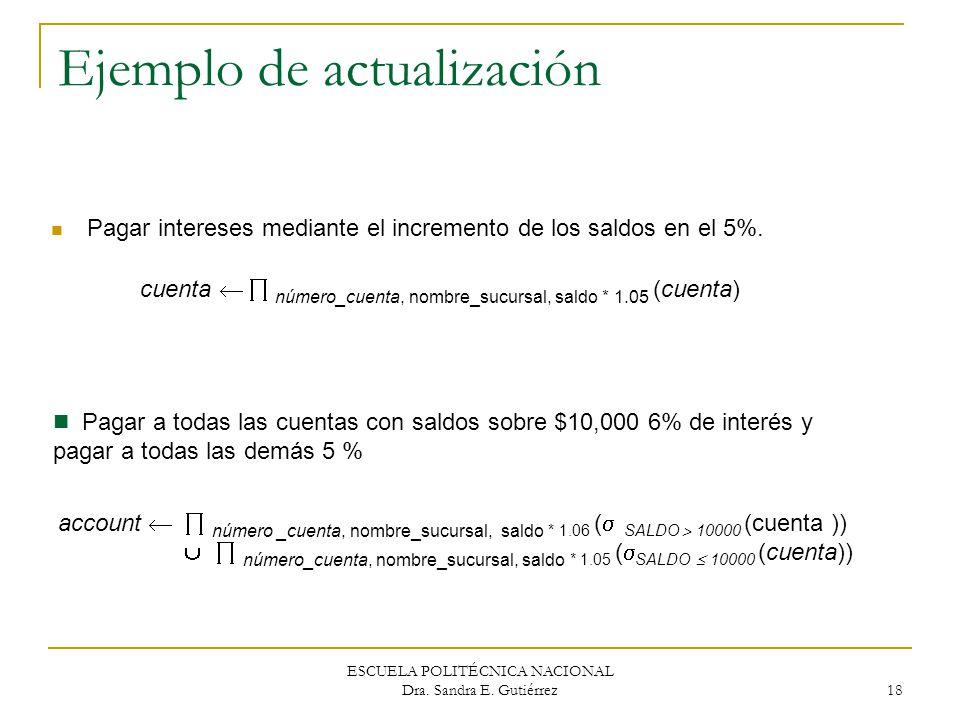 ESCUELA POLITÉCNICA NACIONAL Dra. Sandra E. Gutiérrez 18 Ejemplo de actualización Pagar intereses mediante el incremento de los saldos en el 5%. Pagar