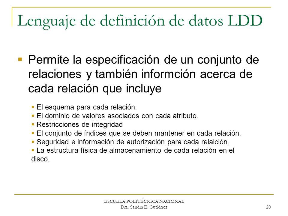 ESCUELA POLITÉCNICA NACIONAL Dra. Sandra E. Gutiérrez 20 Lenguaje de definición de datos LDD Permite la especificación de un conjunto de relaciones y