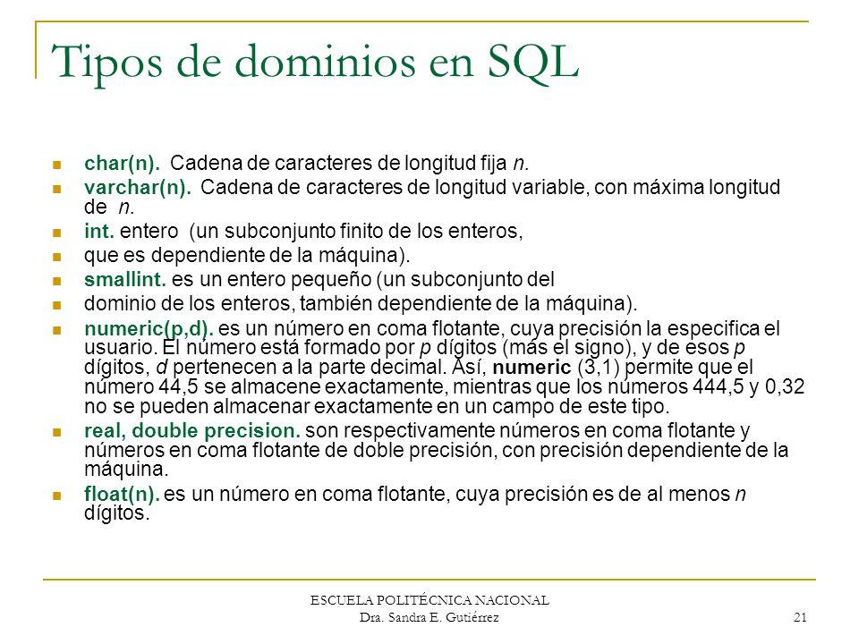 ESCUELA POLITÉCNICA NACIONAL Dra. Sandra E. Gutiérrez 21 Tipos de dominios en SQL char(n). Cadena de caracteres de longitud fija n. varchar(n). Cadena