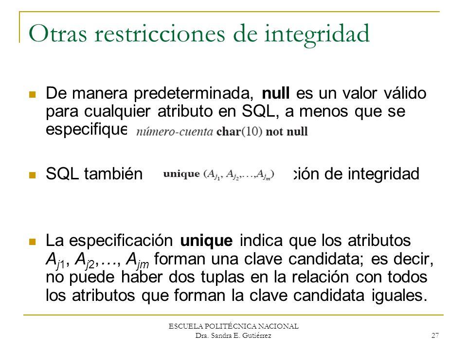 ESCUELA POLITÉCNICA NACIONAL Dra. Sandra E. Gutiérrez 27 Otras restricciones de integridad De manera predeterminada, null es un valor válido para cual