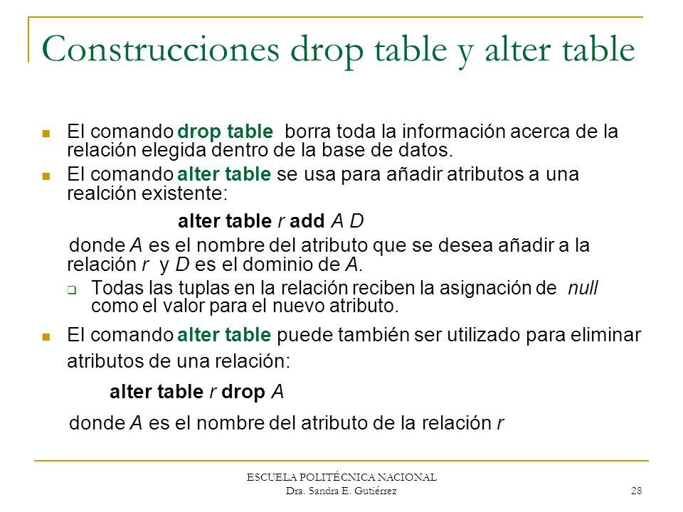 ESCUELA POLITÉCNICA NACIONAL Dra. Sandra E. Gutiérrez 28 Construcciones drop table y alter table El comando drop table borra toda la información acerc