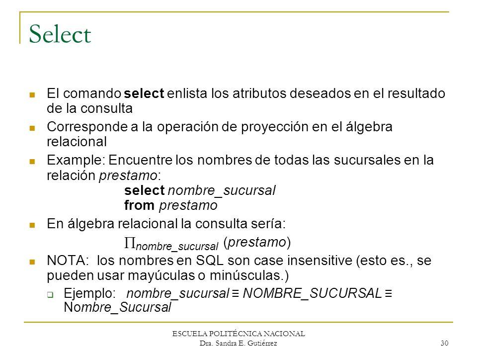 ESCUELA POLITÉCNICA NACIONAL Dra. Sandra E. Gutiérrez 30 Select El comando select enlista los atributos deseados en el resultado de la consulta Corres