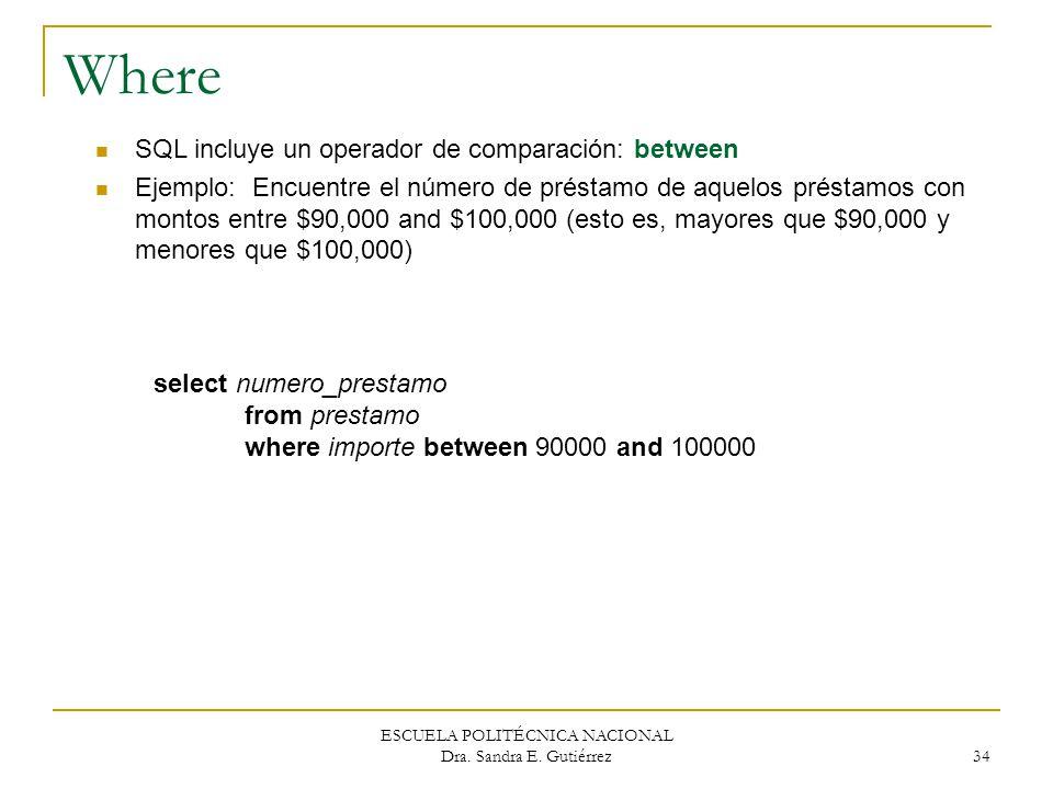 ESCUELA POLITÉCNICA NACIONAL Dra. Sandra E. Gutiérrez 34 Where SQL incluye un operador de comparación: between Ejemplo: Encuentre el número de préstam