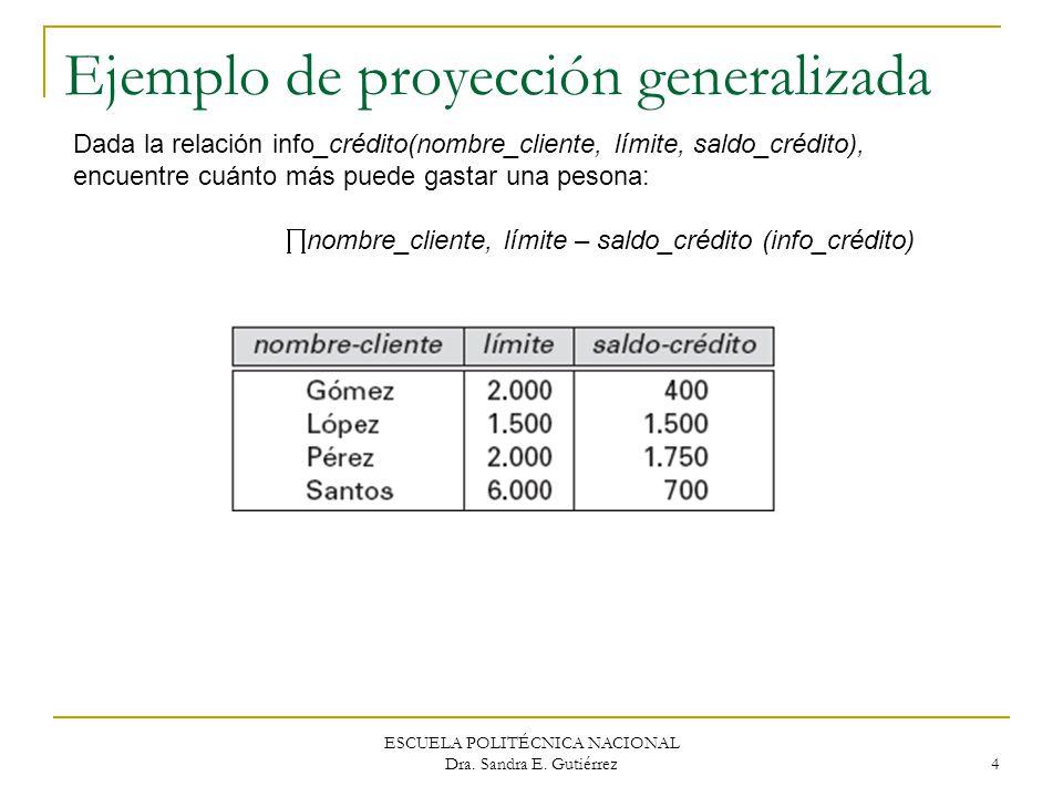 ESCUELA POLITÉCNICA NACIONAL Dra. Sandra E. Gutiérrez 4 Ejemplo de proyección generalizada Dada la relación info_crédito(nombre_cliente, límite, saldo