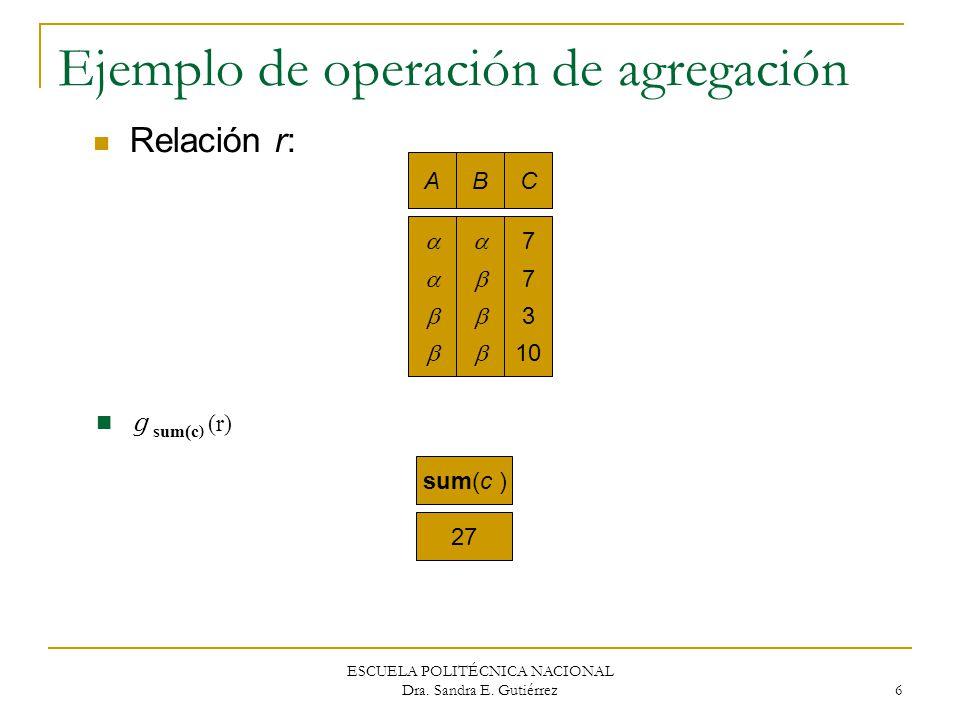 ESCUELA POLITÉCNICA NACIONAL Dra. Sandra E. Gutiérrez 6 Ejemplo de operación de agregación AB C 7 3 10 sum(c ) 27 Relación r: g sum(c ) (r)