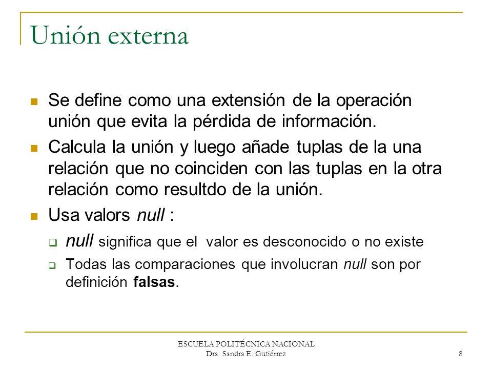 ESCUELA POLITÉCNICA NACIONAL Dra. Sandra E. Gutiérrez 8 Unión externa Se define como una extensión de la operación unión que evita la pérdida de infor