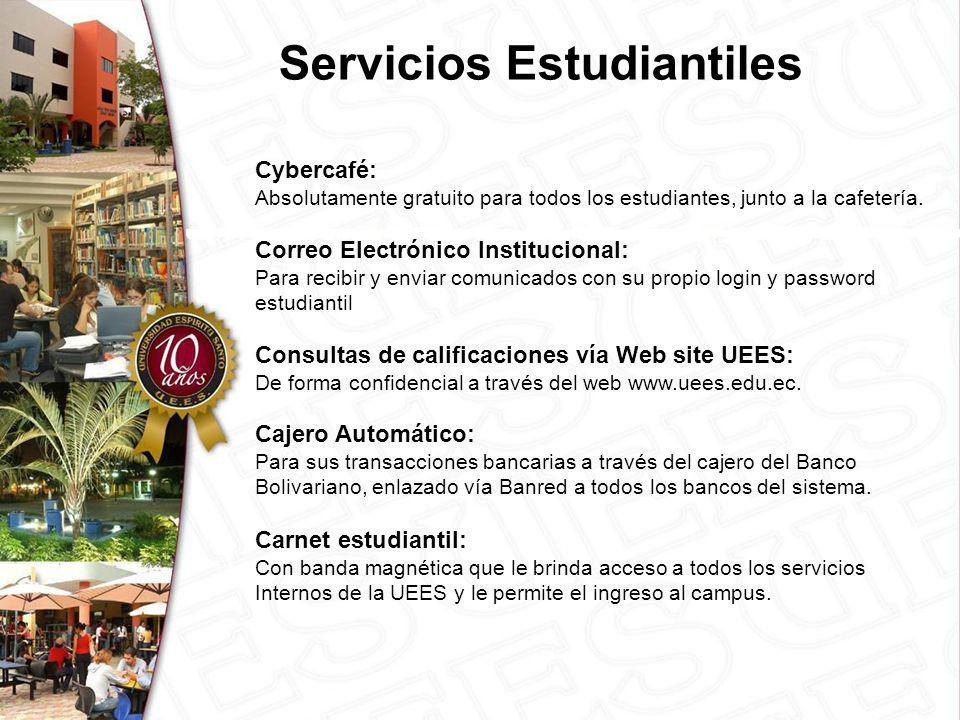 Servicios Estudiantiles Cybercafé: Absolutamente gratuito para todos los estudiantes, junto a la cafetería.