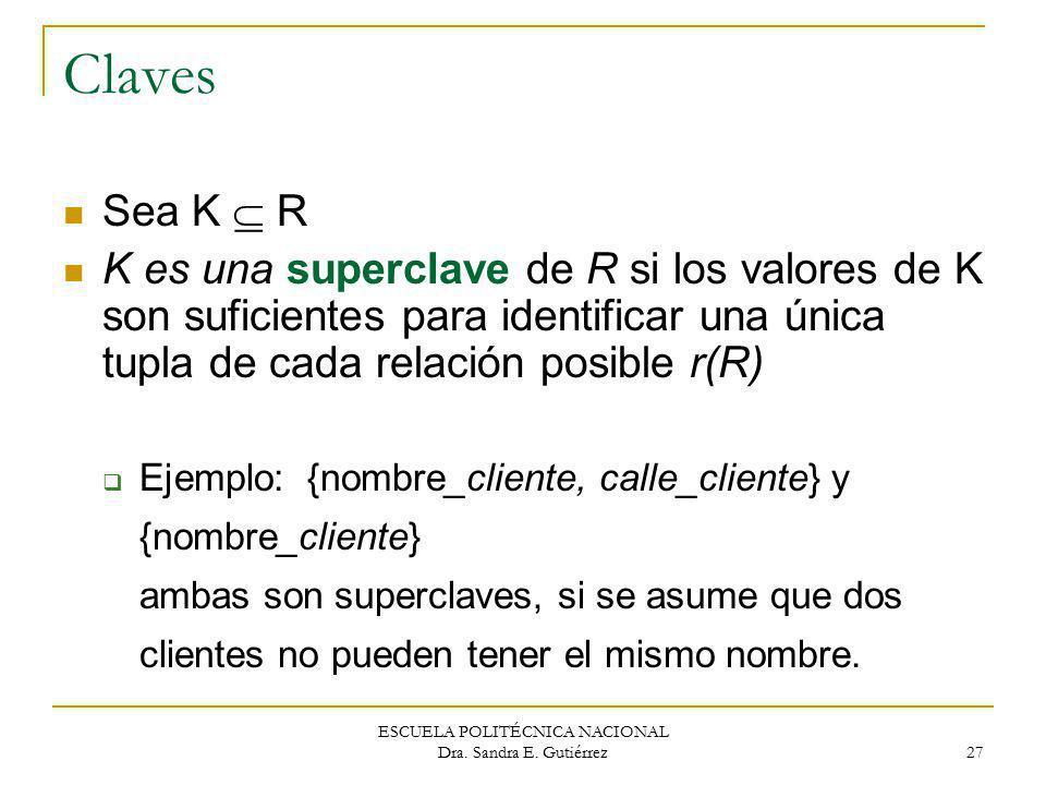 ESCUELA POLITÉCNICA NACIONAL Dra. Sandra E. Gutiérrez 27 Claves Sea K R K es una superclave de R si los valores de K son suficientes para identificar