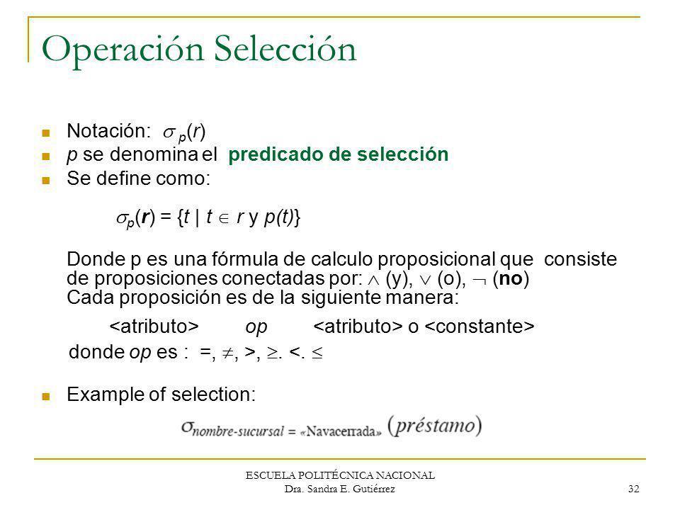 ESCUELA POLITÉCNICA NACIONAL Dra. Sandra E. Gutiérrez 32 Operación Selección Notación: p (r) p se denomina el predicado de selección Se define como: p