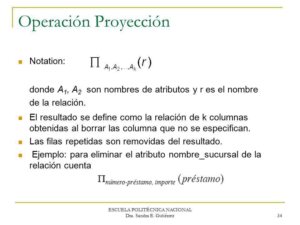 ESCUELA POLITÉCNICA NACIONAL Dra. Sandra E. Gutiérrez 34 Operación Proyección Notation: donde A 1, A 2 son nombres de atributos y r es el nombre de la