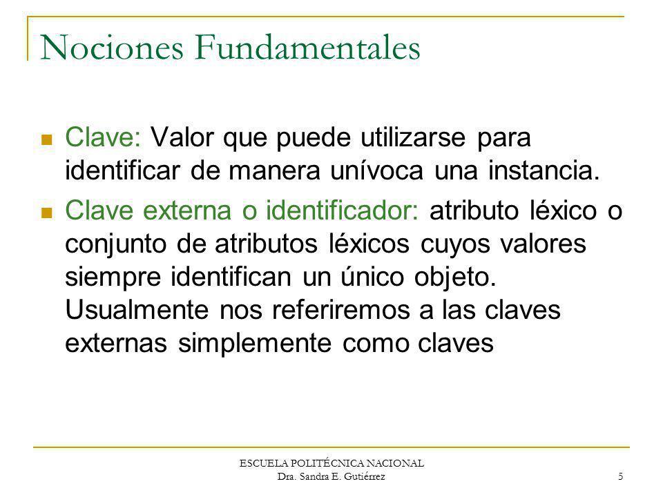 ESCUELA POLITÉCNICA NACIONAL Dra. Sandra E. Gutiérrez 5 Nociones Fundamentales Clave: Valor que puede utilizarse para identificar de manera unívoca un