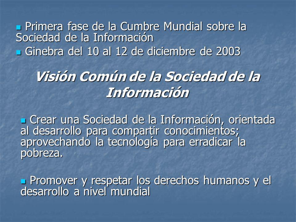 Primera fase de la Cumbre Mundial sobre la Sociedad de la Información Primera fase de la Cumbre Mundial sobre la Sociedad de la Información Ginebra del 10 al 12 de diciembre de 2003 Ginebra del 10 al 12 de diciembre de 2003 Visión Común de la Sociedad de la Información Crear una Sociedad de la Información, orientada al desarrollo para compartir conocimientos; aprovechando la tecnología para erradicar la pobreza.