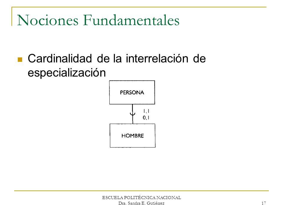 ESCUELA POLITÉCNICA NACIONAL Dra. Sandra E. Gutiérrez 17 Nociones Fundamentales Cardinalidad de la interrelación de especialización