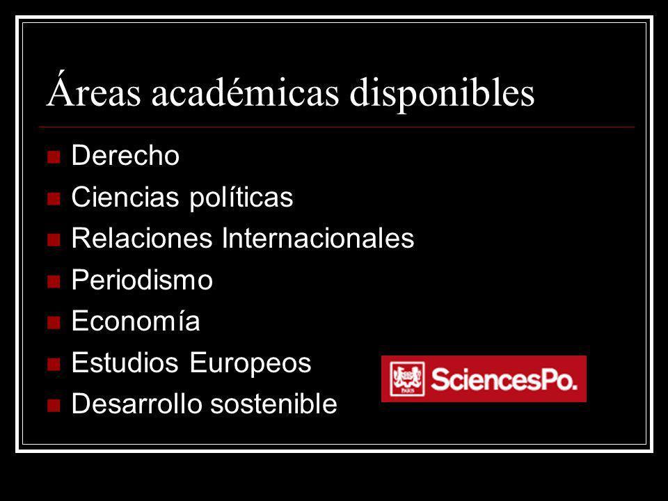 Áreas académicas disponibles Derecho Ciencias políticas Relaciones Internacionales Periodismo Economía Estudios Europeos Desarrollo sostenible