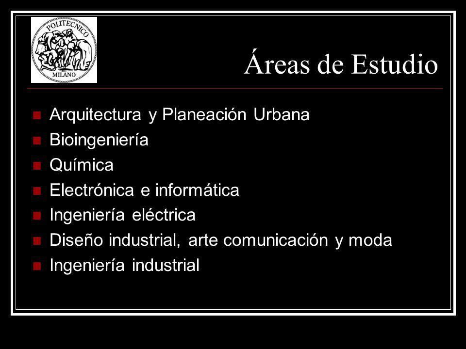 Áreas de Estudio Arquitectura y Planeación Urbana Bioingeniería Química Electrónica e informática Ingeniería eléctrica Diseño industrial, arte comunicación y moda Ingeniería industrial
