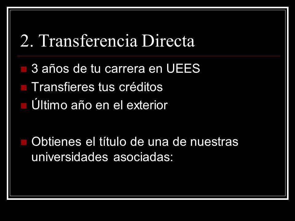 2. Transferencia Directa 3 años de tu carrera en UEES Transfieres tus créditos Último año en el exterior Obtienes el título de una de nuestras univers