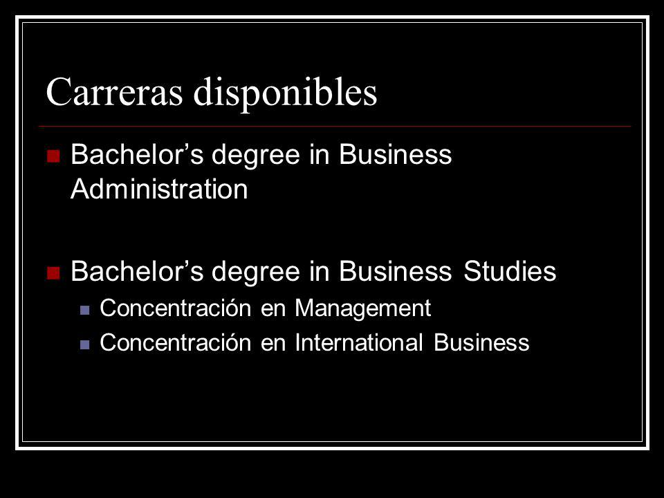 Carreras disponibles Bachelors degree in Business Administration Bachelors degree in Business Studies Concentración en Management Concentración en International Business