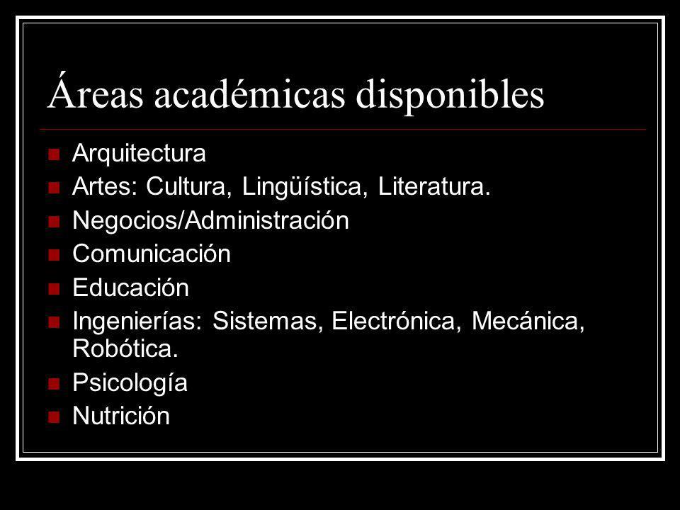 Áreas académicas disponibles Arquitectura Artes: Cultura, Lingüística, Literatura.