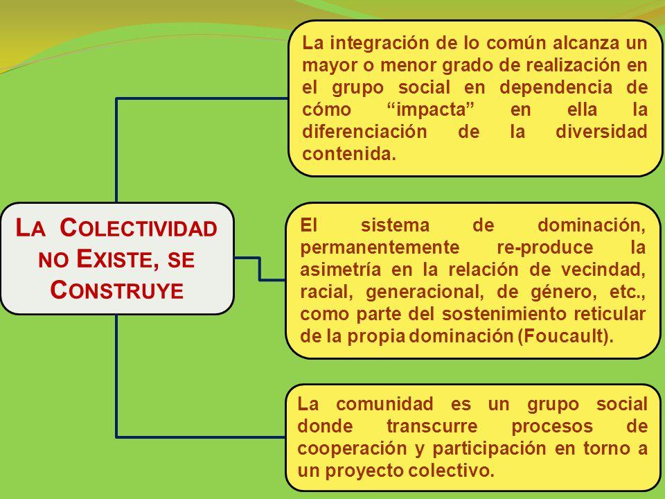 La integración de lo común alcanza un mayor o menor grado de realización en el grupo social en dependencia de cómo impacta en ella la diferenciación de la diversidad contenida.