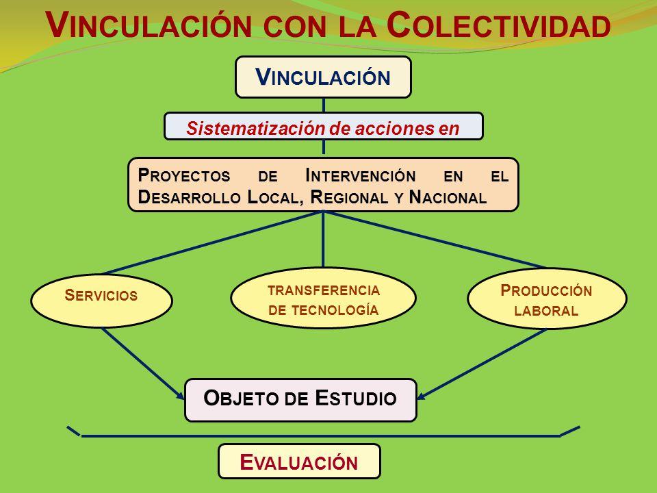 V INCULACIÓN Sistematización de acciones en P ROYECTOS DE I NTERVENCIÓN EN EL D ESARROLLO L OCAL, R EGIONAL Y N ACIONAL S ERVICIOS TRANSFERENCIA DE TECNOLOGÍA P RODUCCIÓN LABORAL O BJETO DE E STUDIO E VALUACIÓN V INCULACIÓN CON LA C OLECTIVIDAD