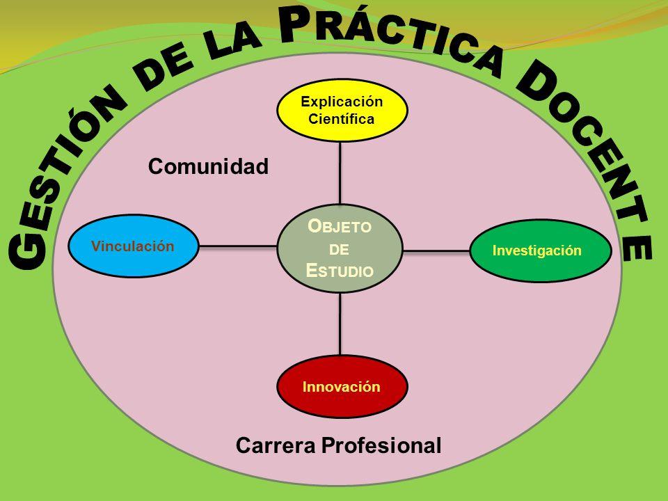 Investigación O BJETO DE E STUDIO Vinculación Explicación Científica Innovación Comunidad Carrera Profesional