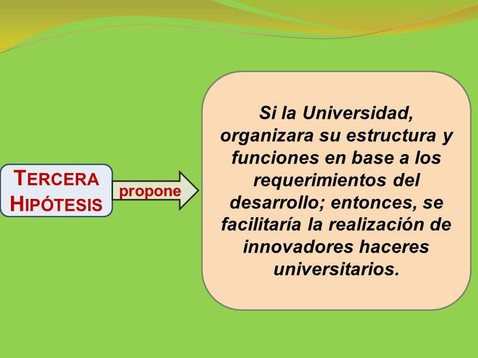 Si la Universidad, organizara su estructura y funciones en base a los requerimientos del desarrollo; entonces, se facilitaría la realización de innovadores haceres universitarios.