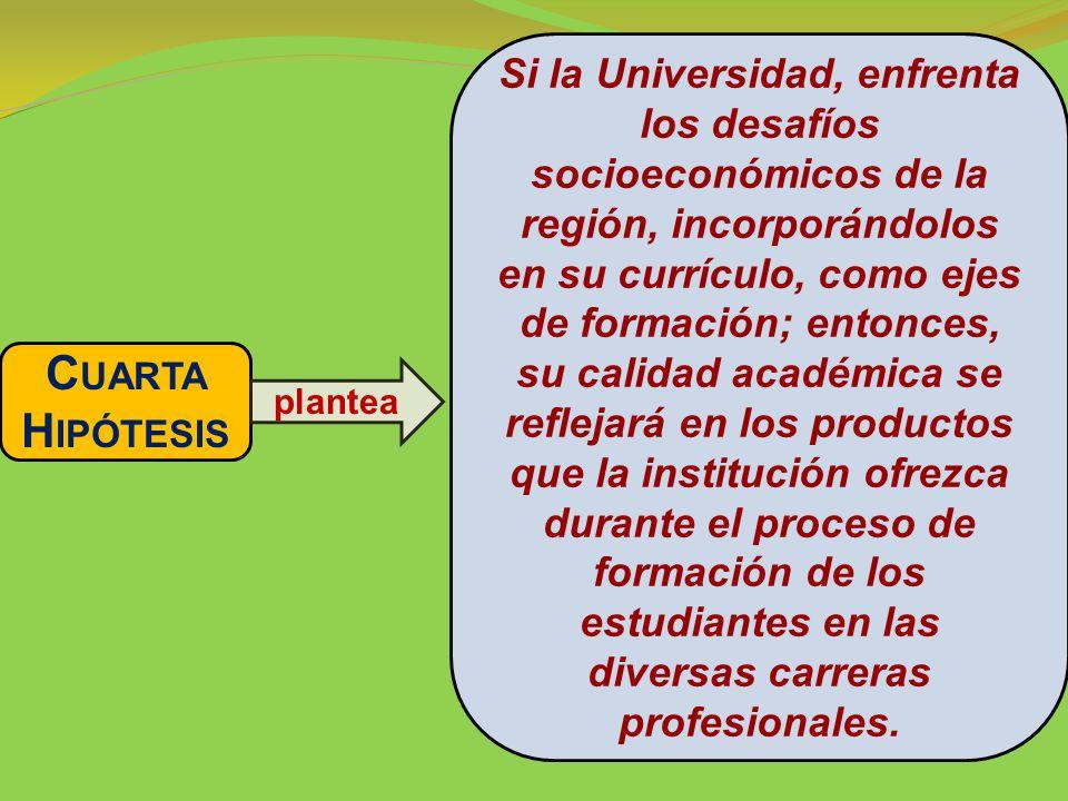 Si la Universidad, enfrenta los desafíos socioeconómicos de la región, incorporándolos en su currículo, como ejes de formación; entonces, su calidad académica se reflejará en los productos que la institución ofrezca durante el proceso de formación de los estudiantes en las diversas carreras profesionales.