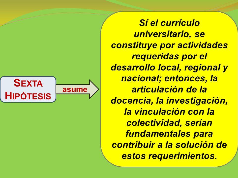 Sí el currículo universitario, se constituye por actividades requeridas por el desarrollo local, regional y nacional; entonces, la articulación de la docencia, la investigación, la vinculación con la colectividad, serían fundamentales para contribuir a la solución de estos requerimientos.
